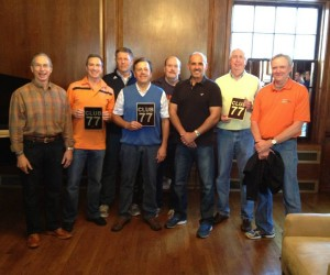 77's Don Armstrong, Bill Barry, Dane Luhrsen, Nobel Olsen, Steve Dalley, John Norton, Jack Klues and Rob Meyer representing their entire class are honored at Homecoming 2014