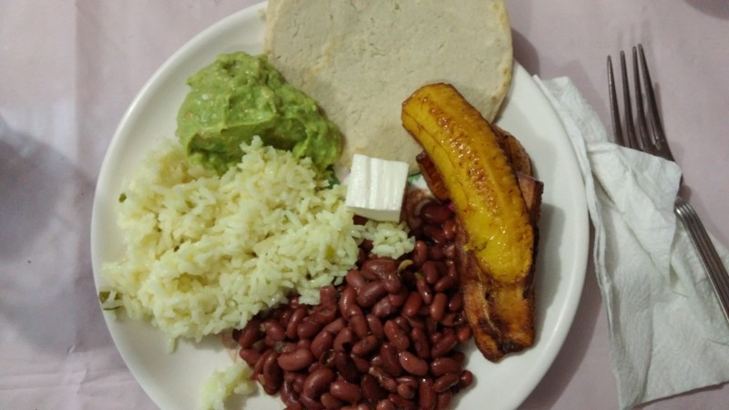 Authentic Honduran food. Rice, beans, guacamole, fried plantains, and goat cheese. It was delicious.